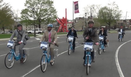 Philadelphia mayor Michael Nutter rides Indego bike-share. Image via Streetfilms