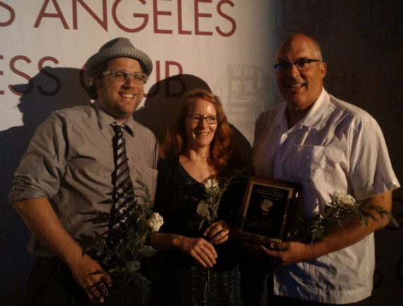 Damien Newton, Melanie Curry, and Joe Linton accepting the Group Blog award at last night's L.A. Press Club awards dinner. Photo: Juan Matute
