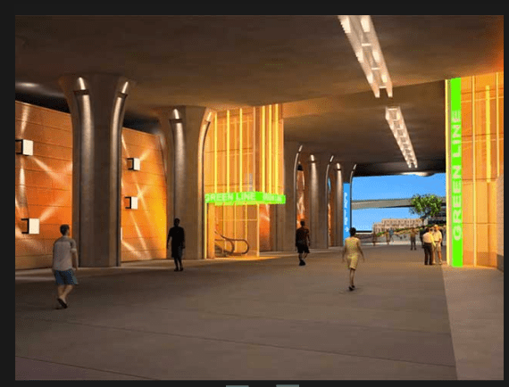 A better-lit and more enticing stroll under the 105 freeway will await transit riders. (Source: JGM)