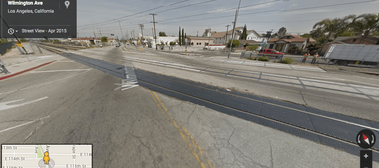 The view from the street at Wilmington and the intersection of the Blue Line. (Google map screen shot)