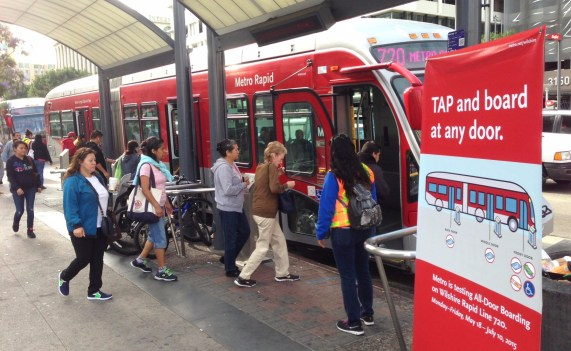 Metro's all-door boarding pilot is underway. Photos: Joe Linton/Streetsblog L.A.