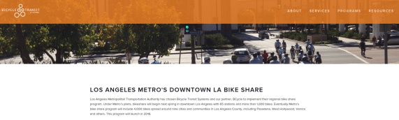 Metro bike-share vendor Bicycle Transit Systems has a new L.A. webpage. Image via http://www.bicycletransit.com/los-angeles/