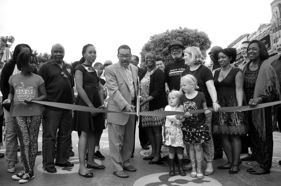 The cutting of the ribbon on the People St Plaza. Sahra Sulaiman/Streetsblog L.A.