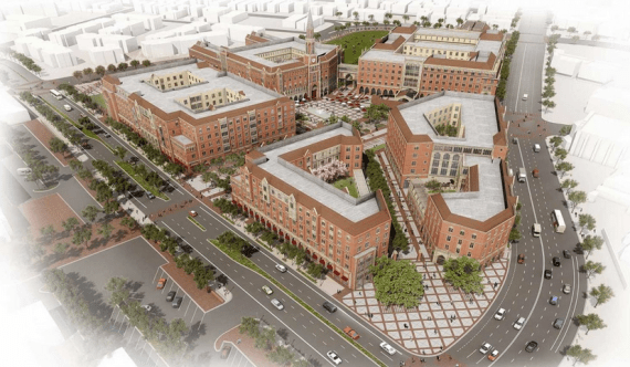 """Rendering of the $650 million USC Village, sited at Jefferson and Hoover and touted as """"the most expansive development project in the history of South Los Angeles."""" Source: USC"""