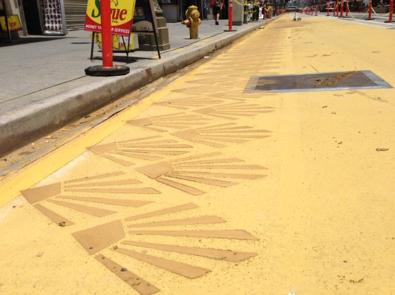 New yellow makeover for Broadway Dress Rehearsal. Photos by Joe Linton/Streetsblog L.A.