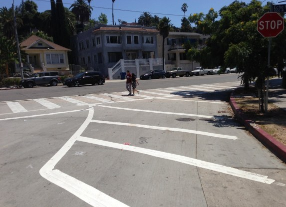 Recent curb extension added at Echo Park and Park Aveneues.