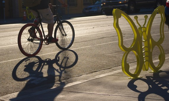 A butterfly bike rack perches on 1st St. in Boyle Heights. Sahra Sulaiman/Streetsblog L.A.