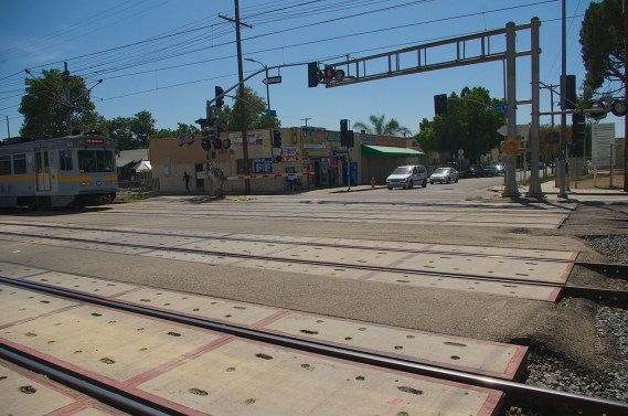 It's too easy for a pedestrian to get on the tracks when the train is passing through. Sahra Sulaiman/Streetsblog L.A.