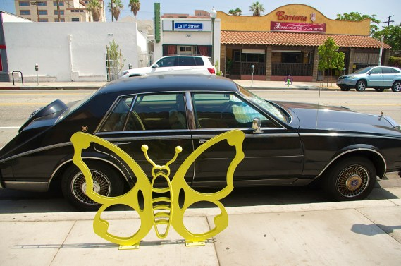 Butterfly adeptly blocks access to passenger side doors. Sahra Sulaiman/Streetsblog L.A.