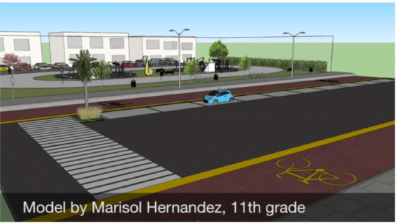 11th grader Marisol Hernandez re-envisions Central Ave. with bike lanes and open spaces.