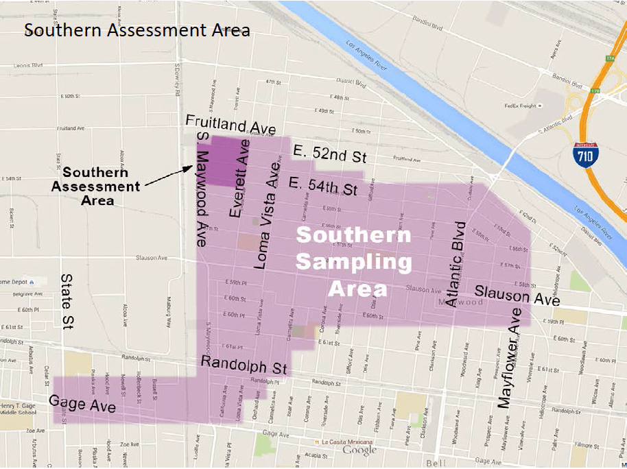 The Expanded Assessment Area to the south of the Exide plant (located just across the river, at Bandini and Indiana. Source: DTSC