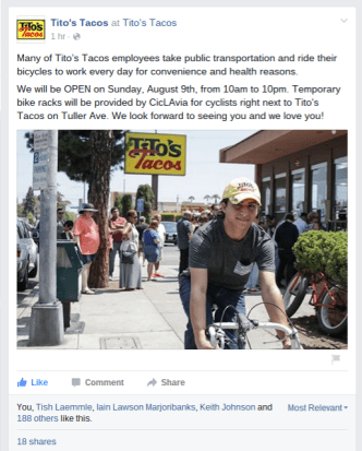 Screenshot of Tito's Tacos Facebook post today.