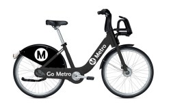 Preview of what Metro bike-share bikes will look like when they arrive in downtown L.A. in mid-2016. Image via Metro staff report