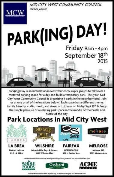 Four Mid-City Park(ing) Day parklet locations hosted by L.A.'s Mid-City West Neighborhood Council.