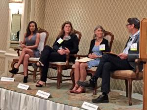 The panel discussing healthy communities at the Westside Urban Forum Friday morning. From left to right, Sahra Sulaiman, Clare De Briere, Jean Armbruster, and Fred Zimmerman. Photo via Rick Cole.