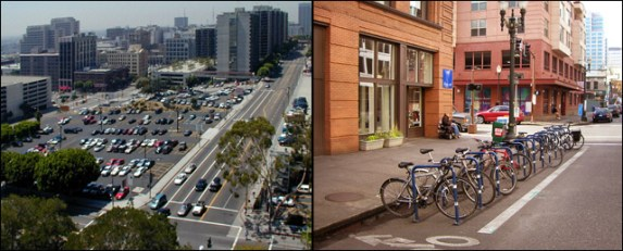 Los Angeles parking vs. Portland parking. Photo by Rick Risemberg