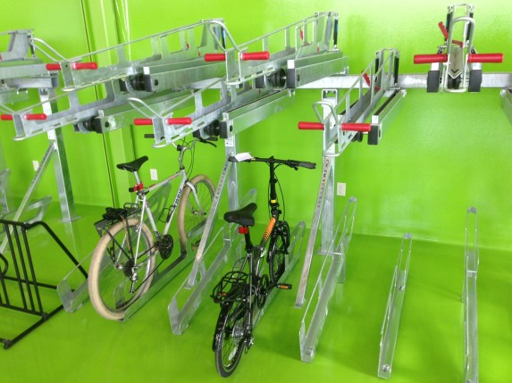The El Monte Bike Hub features secure double-deck bike parking.