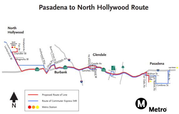 Map of planned new North Hollywood to Pasadena freeway bus. Image via Metro.