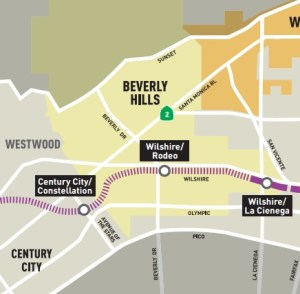 What will it take for Beverly Hills to stop fighting the Purple Line? Map from Metro