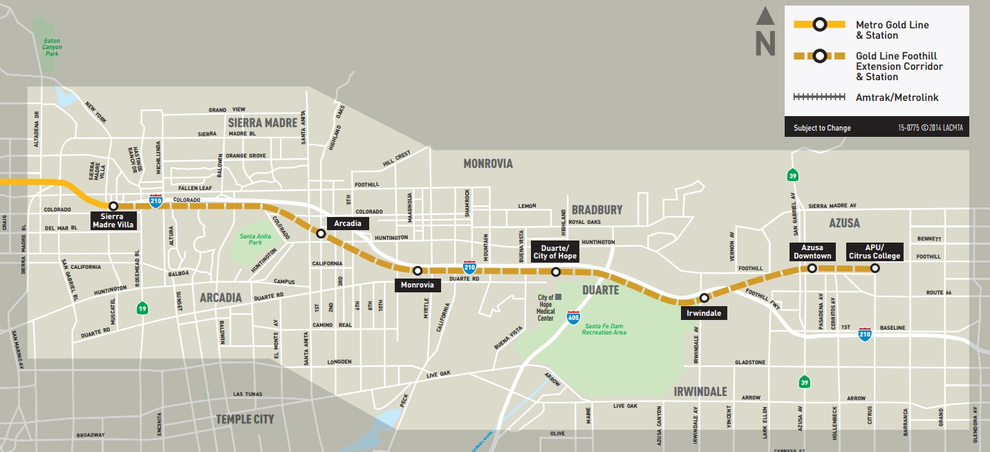 Los Angeles Subway Map 2016.Foothill Gold Line Extension To Open March 5 2016 Streetsblog Los