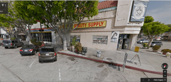 Blacked-out windows mark the site of one of Botach's weapons warehouses in Leimert Park Village. (Google maps)