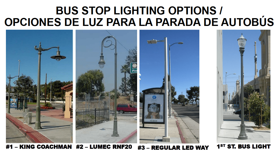 Bus stop lighting options.