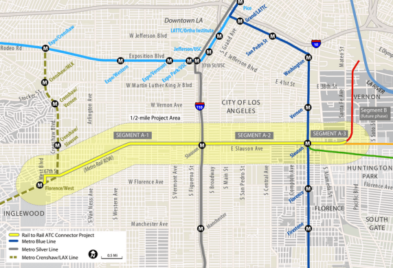 The Rail-to-Rail-to-eventually-the-River project will turn a right-of-way along Slauson Ave. into a bike and pedestrian path connecting folks to the Crenshaw, Silver, and Blue Lines. Source: Metro