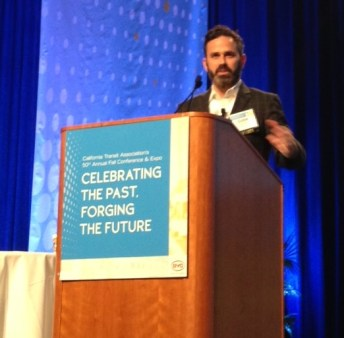 Gabe Klein speaking at the California Transit Association conference. Photo by Joe Linton/Streetsblog L.A.