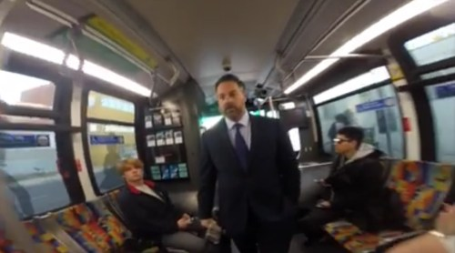 Joe Buscaino boarding the Silver Line bus
