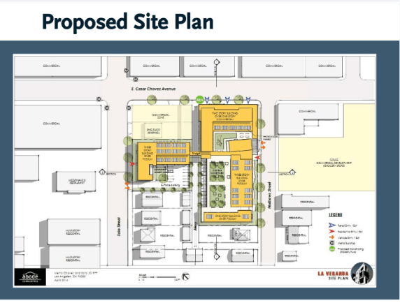 The site of Abode Communities' planned housing project. The site at Fickett (previously slated for reincarnation as a grocery store) has been returned to the drawing board. Rendering: Veranda
