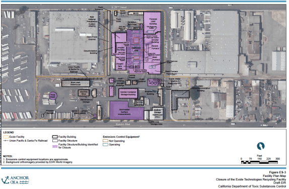 Plan of the Exide Facility. Rendering: Anchor QEA (DEIR)