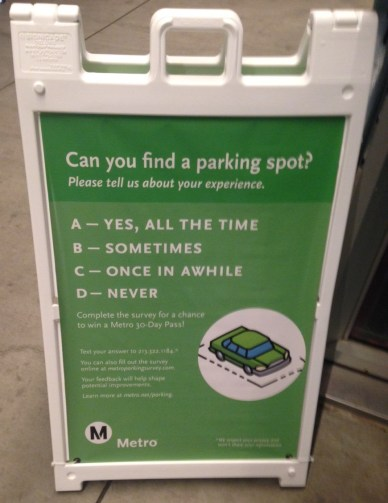 Metro is promoting its parking survey via sandwich board ads, including this one at Expo Culver City. Photo: Damien Newton/Streetsblog L.A.