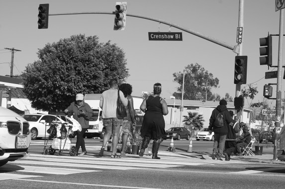 Cars still tried to beat pedestrians through the more narrow intersections. Sahra Sulaiman/Streetsblog L.A.