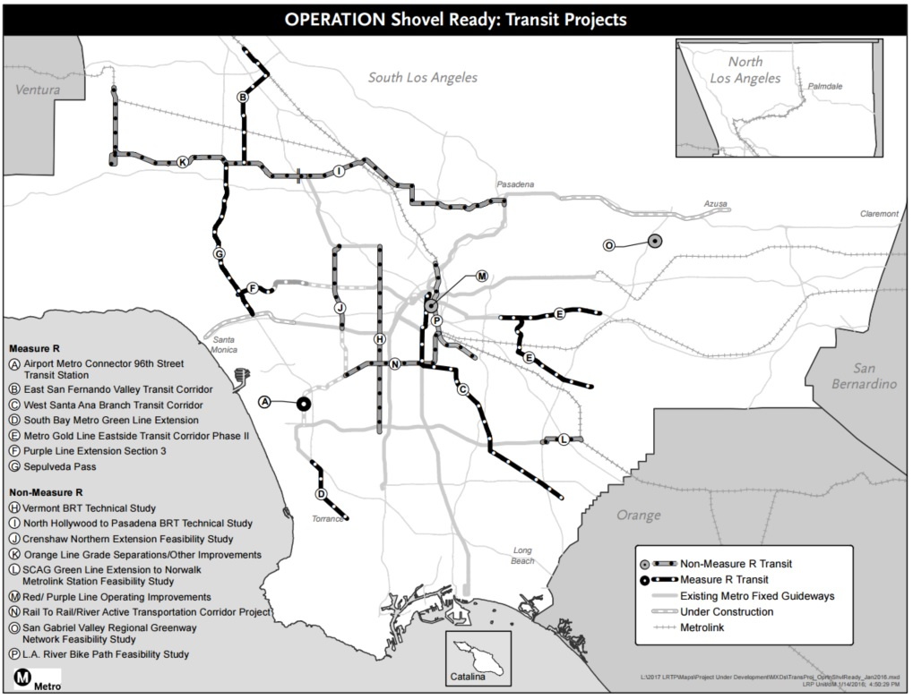 Metro Operation Shovel Ready Transit Projects map - including rail, bus, and bike projects