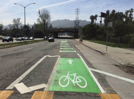 Vineland bike lane southbound immediately north of the 101 Freeway