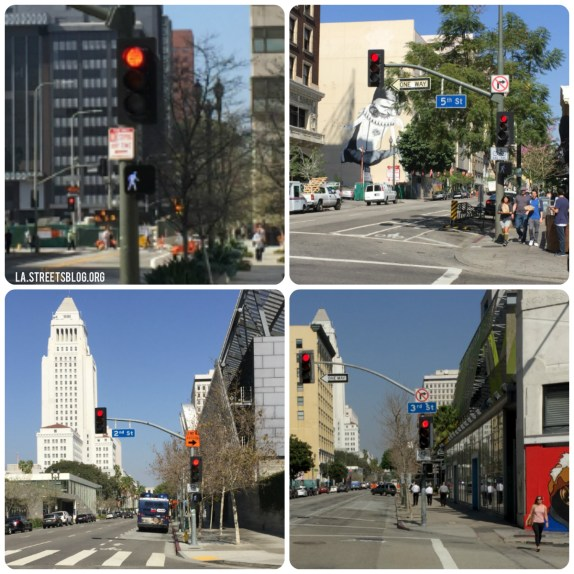 Red light plus walk signal means a leading pedestrian interval. Photos by Joe LInton/Streetsblog L.A.