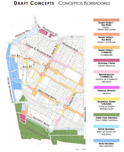 The land-use map of Boyle Heights. Tienditas are pink and found scattered through residential areas. Click to enlarge. Source: City Planning.