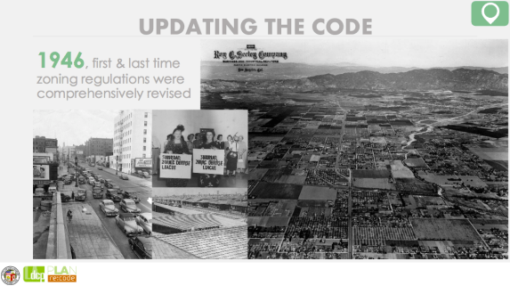 Re:code presentation slide on the need to update the zoning code. Source: City Planning