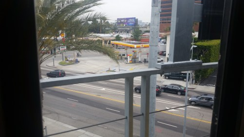 Here is the view from the Bundy station, looking north toward the Bundy/Olympic intersection.