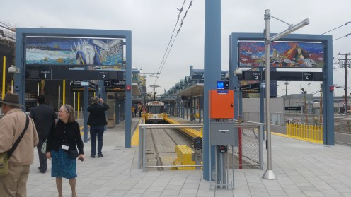A train waits at the Downtown Santa Monica platform while special guests explore. Photos by Jason Islas.