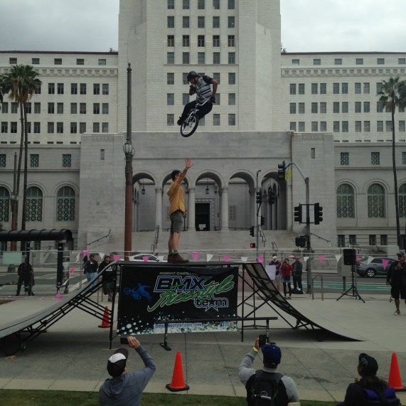 A BMX performer jumps over the second tallest bike advocate I know. All six pics: Damien Newton