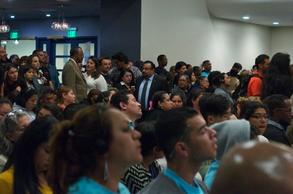 Curren Price turned the town hall over to union representatives and representatives of the Reef after his opening remarks. Sahra Sulaiman/Streetsblog L.A.