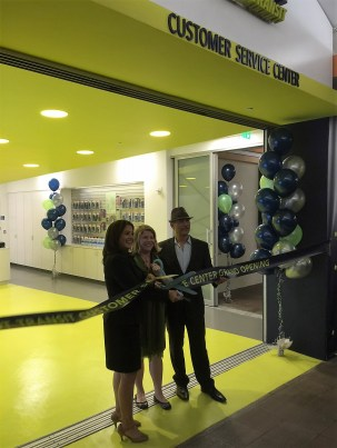Eyes on the Street: Deputy Mayor Barbara Romero, LADOT General Manager Seleta Reynolds and Transportation Commission president Eric Eisenberg cut the ribbon on LADOT's new Customer Service Center in the L.A. Mall across from City Hall. Photo: Joe Linton Streetsblog L.A.