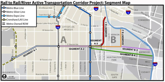 The Rail-to-River plan to put a bike path between the Crenshaw Line to the west and the L.A. River to the east continues to move forward. Source: Metro