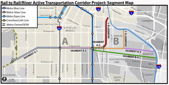The Rail-to-River plan to put a bike path between the Crenshaw Line to the west and the L.A. River to the east just took another step forward. Source: Metro