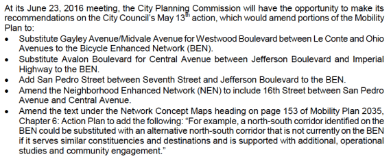 The amendments to the Mobility Plan that the City Planning Commission recommended the City Council adopt.