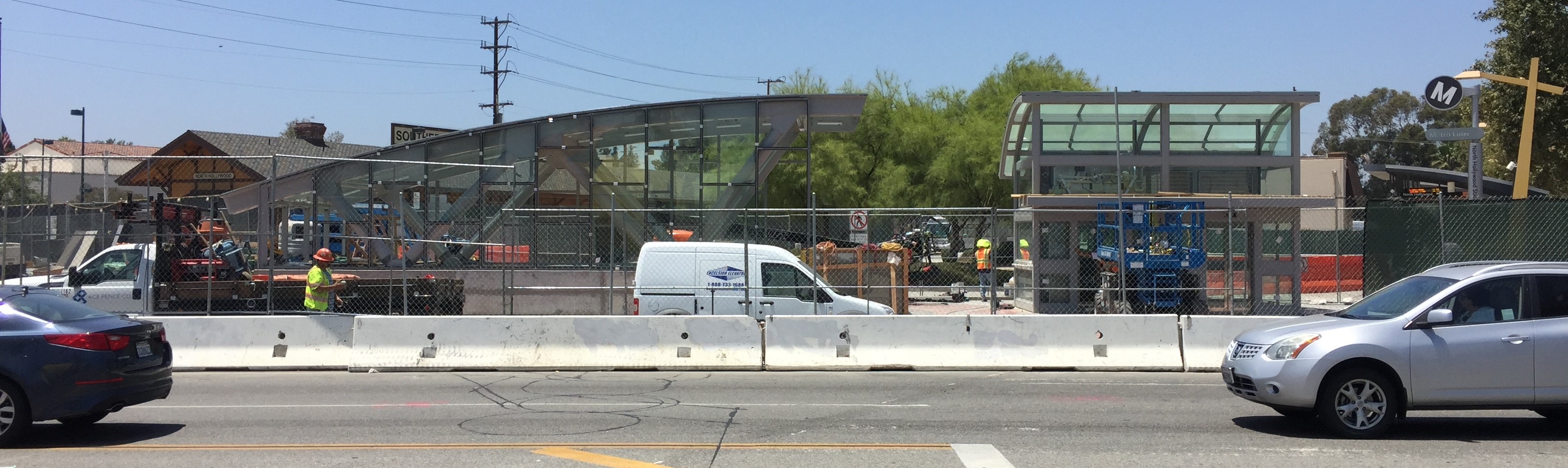 North Hollywood Station's new above-ground structures, as viewed from the Red Line Station. The new North Hollywood tunnel is due to open August 2016. Photos by Joe Linton/Streetsblog L.A.