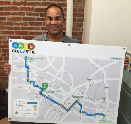 CicLAvia Executive Director Romel Pascual holds up the map from the first CicLAvia on October 10, 2010. Photo: Joe Linton/Streetsblog L.A.