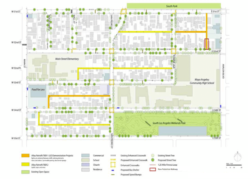 The network of alleys to be converted. The red box marks the alley set to open. The orange alley at left is already open. Source: TPL