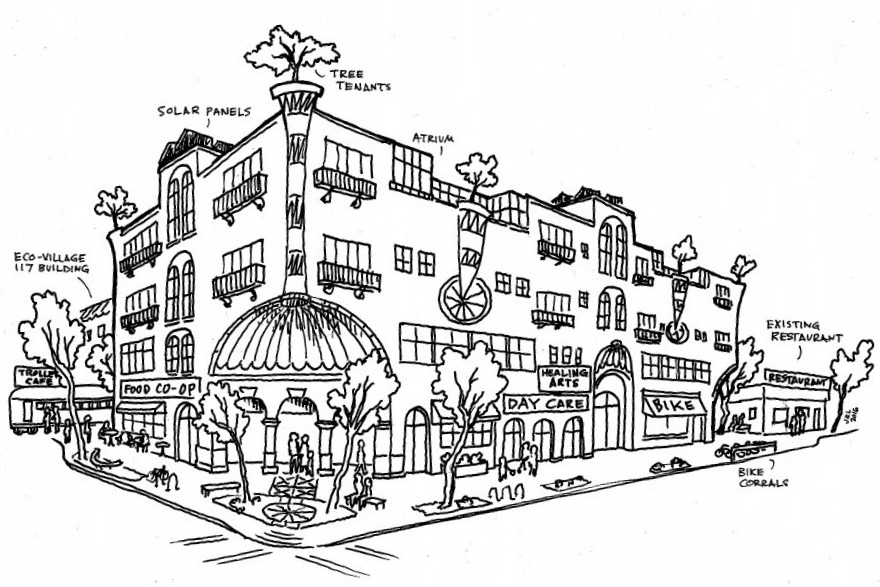 Sketch of development concept for new L.A. Eco-Village mixed-use building. Image via CRSP